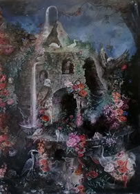 Dolly Thompsett, Fortress with Figures and Creatures, 2014, oil on canvas, 150 x 110 cm