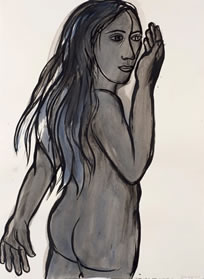 Eileen Cooper, Freya, 2014, ink and wash, 76 x 56 cm