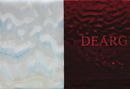 Helen MacAlister, BÀN DEARG, 2009, sand-blasted glass (2 panels), edition of 3, 10.5 x 15 cm, £600