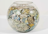 Jack Milroy, Goldfish Bowl, 1982, crumpled map pages, goldfish bowl, 25 x 32 x 32 cm
