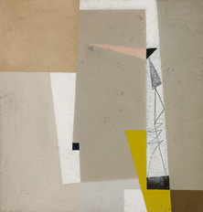 John Wells, Composition, Yello & Pink, c.1948, oil and pencil on board, 35 x 33.5 cm