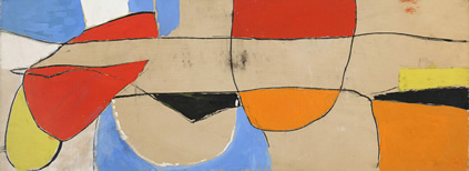 Roger Hilton, December 1964, gouache and charcoal on wood, 17.3 x 73.1 cm
