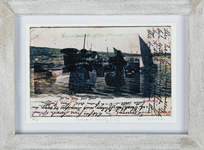 Will Maclean, Pier and Herring Boats, 2012, printed collage, 9 x 14 cm